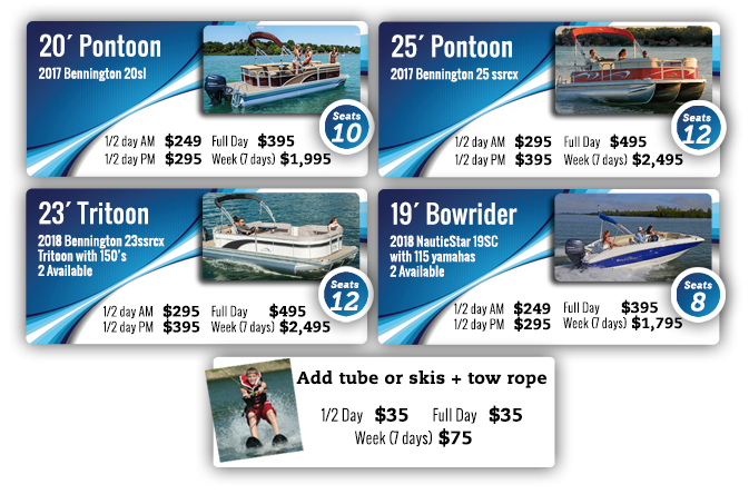 Clemons Boats Rentals 20', 22' and 24' pontoons and 19' deckboats for rent in Sandusky Ohio