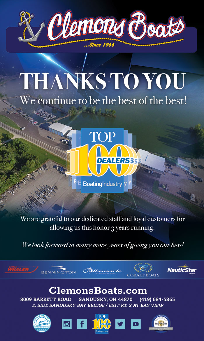 Clemons Boats has been awarded Top 100 Dealer by Boating Industry Magazine Again. Thank you to our amazing staff and customers!